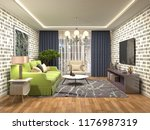 interior of the living room. 3d ... | Shutterstock . vector #1176987319