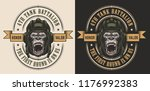 apparel design with gorilla... | Shutterstock .eps vector #1176992383