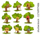 tree houses set  wooden huts on ... | Shutterstock .eps vector #1176997486