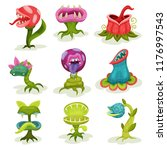 Carnivore plants set, colorful fantastic malicious killer flowers with teeth vector Illustrations on a white background