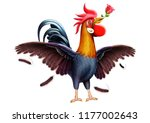 rooster  with rose | Shutterstock . vector #1177002643