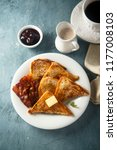 french toasts with bacon  maple ... | Shutterstock . vector #1177008103