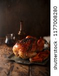 roast chicken with maple syrup  ... | Shutterstock . vector #1177008280