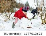 adorable little girls building... | Shutterstock . vector #1177013623