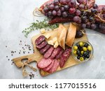 different sausages with cheese  ... | Shutterstock . vector #1177015516