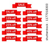 set of red sale ribbons with...   Shutterstock .eps vector #1177018303