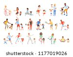 set with parents and their... | Shutterstock .eps vector #1177019026