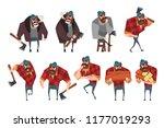 cartoon set of lumberjack in... | Shutterstock .eps vector #1177019293