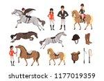 cartoon jockey icons set with...   Shutterstock .eps vector #1177019359