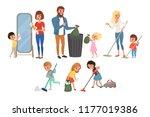 children helping their parents... | Shutterstock .eps vector #1177019386