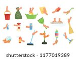 colorful set of human hands... | Shutterstock .eps vector #1177019389