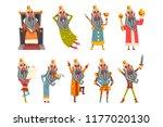 set of funny king in various... | Shutterstock .eps vector #1177020130