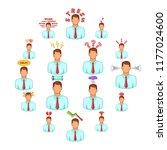 stress icons set. cartoon... | Shutterstock . vector #1177024600