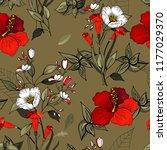 retro wild seamless flower... | Shutterstock .eps vector #1177029370