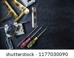 door lock repair. details of... | Shutterstock . vector #1177030090