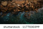 aerial view of waves  rocks and ... | Shutterstock . vector #1177030399