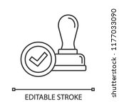 stamp approved linear icon.... | Shutterstock .eps vector #1177033090