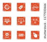 seo calling icons set. grunge...