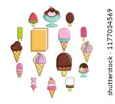 ice cream icons set sweet.... | Shutterstock . vector #1177034569