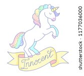 a white unicorn with a rainbow... | Shutterstock .eps vector #1177036000