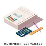 heap of documents with pencil ... | Shutterstock .eps vector #1177036696