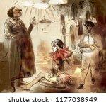 commedia dell' arte. an hand... | Shutterstock . vector #1177038949