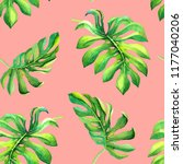 watercolor tropical leaves on... | Shutterstock . vector #1177040206