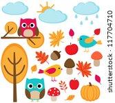 autumn set    tree  leafs ... | Shutterstock . vector #117704710