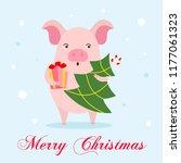 cute character cartoon pig on... | Shutterstock .eps vector #1177061323