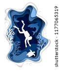 vector paper cut underwater sea ... | Shutterstock .eps vector #1177065319
