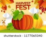 harvest festival poster  banner ... | Shutterstock .eps vector #1177065340