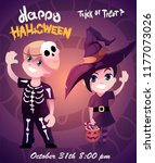 ids in witch and skeleton... | Shutterstock .eps vector #1177073026