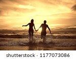 silhouette in love sunset sea   ...   Shutterstock . vector #1177073086