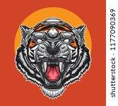 tiger head mascot in robotic | Shutterstock .eps vector #1177090369