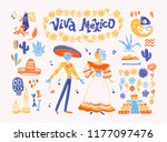 big set of mexico elements ... | Shutterstock . vector #1177097476