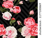 peony and roses vector seamless ...   Shutterstock .eps vector #1177100869