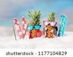 couple of attractive pineapples ... | Shutterstock . vector #1177104829