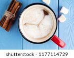 red mug with hot cocoa or... | Shutterstock . vector #1177114729
