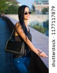 portrait of brunette fashion... | Shutterstock . vector #1177117879