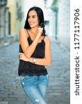 portrait of brunette fashion... | Shutterstock . vector #1177117906