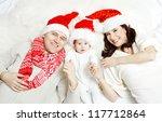 christmas family of three... | Shutterstock . vector #117712864