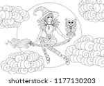 beautiful little witch sitting... | Shutterstock .eps vector #1177130203