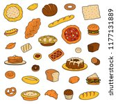 colorful collection about bread ... | Shutterstock .eps vector #1177131889