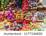 fruit stacked at a stall in... | Shutterstock . vector #1177136830