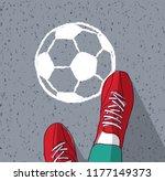 feet young man top view soccer...   Shutterstock .eps vector #1177149373