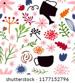 vector hand drawn floral... | Shutterstock .eps vector #1177152796