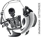 skeleton fisherman catching... | Shutterstock .eps vector #1177154323