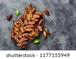 dried dates fruits on plate... | Shutterstock . vector #1177155949
