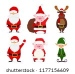 set of cartoon christmas...   Shutterstock .eps vector #1177156609