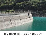 dike of the fiastra lake ... | Shutterstock . vector #1177157779